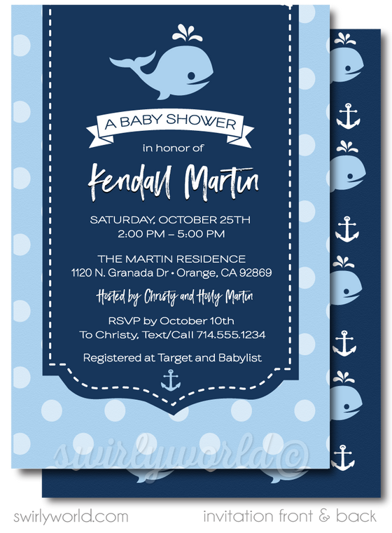nautical navy blue and white baby shower invitation ideas for boys. Baby whale under the sea party theme.