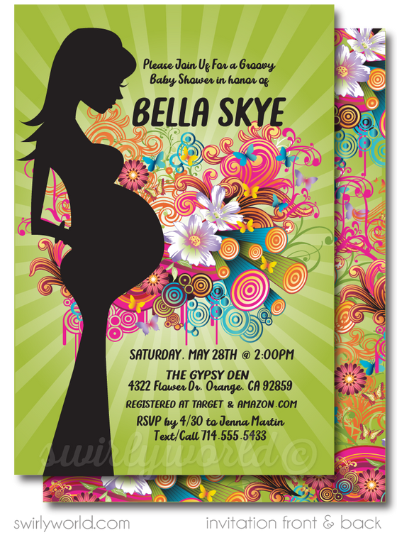 Gender Neutral Groovy Psychedelic Hippie Chic Bohemian Baby Shower Invitation and Thank You Card Digital Download Bundle