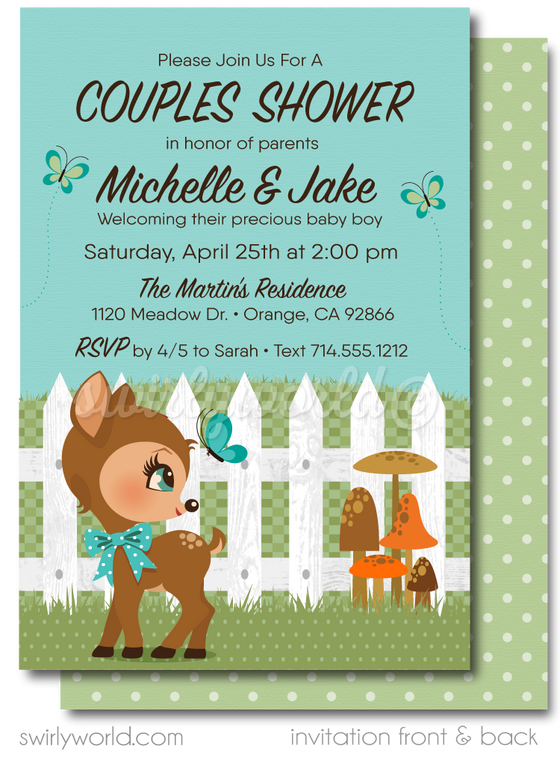 Precious Woodland Forest Fawn Deer Gender Neutral Garden Couples Baby Shower Invitation & Thank You Card Digital Download Bundle