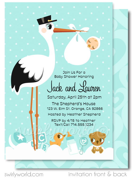 Adorable Stork Special Delivery Gender Neutral Couples Baby Shower Invitation and Thank You Card Digital Download Bundle