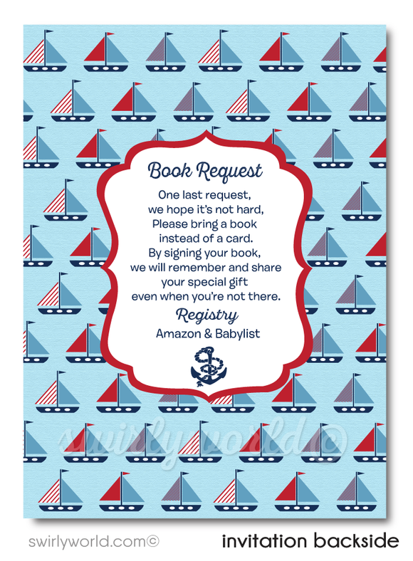 "Navy Blue Sailboat Nautical Theme ""Ahoy, It's A Boy"" Baby Shower Digital Invite & Thank You Card."