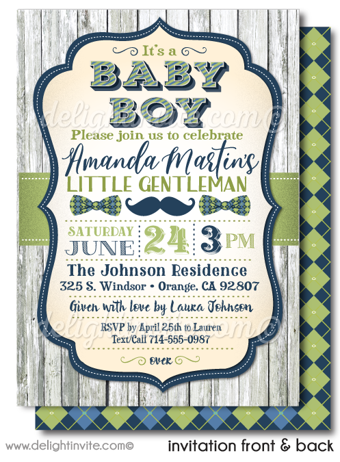 Little Gentleman Hipster Baby Shower Invitations