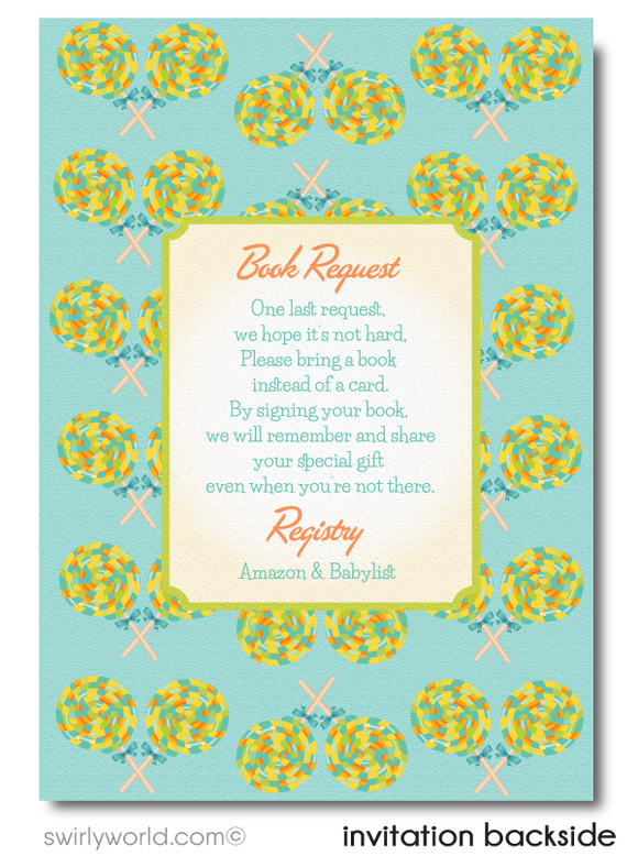 Gender Neutral Candy-Land Sweet Shop Baby Shower Invitation and Thank You Card Digital Download Bundle