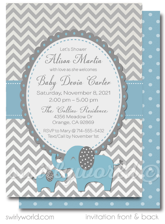 Blue and Gray Baby Elephant, Little Peanut Boy Baby Shower Invitation and Thank You Card Digital Download Bundle.