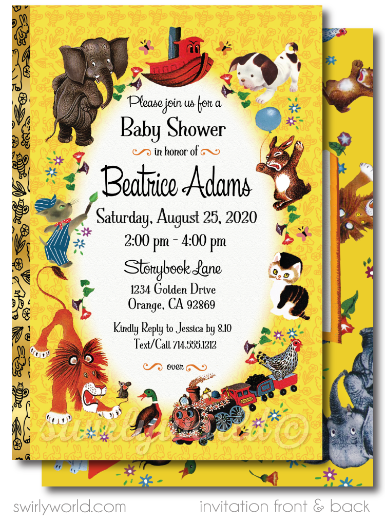 Vintage Little Golden Book Baby Shower Invitations and Thank You Cards Digital Download