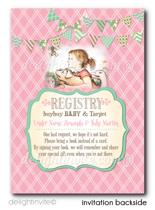 Vintage Charlotte's Web Baby Shower Invitations