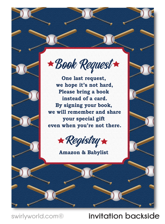 All-Star Sports Baseball Little Slugger Couples' Baby Shower Invitation & Thank You Card Digital Download Bundle
