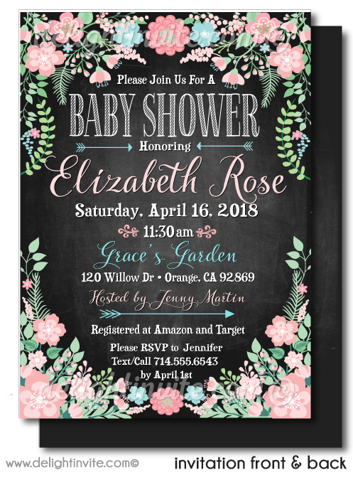 Baby Shower Invitations, Vintage Floral Baby Shower Party, Vintage Chalkboard Baby Shower Invites