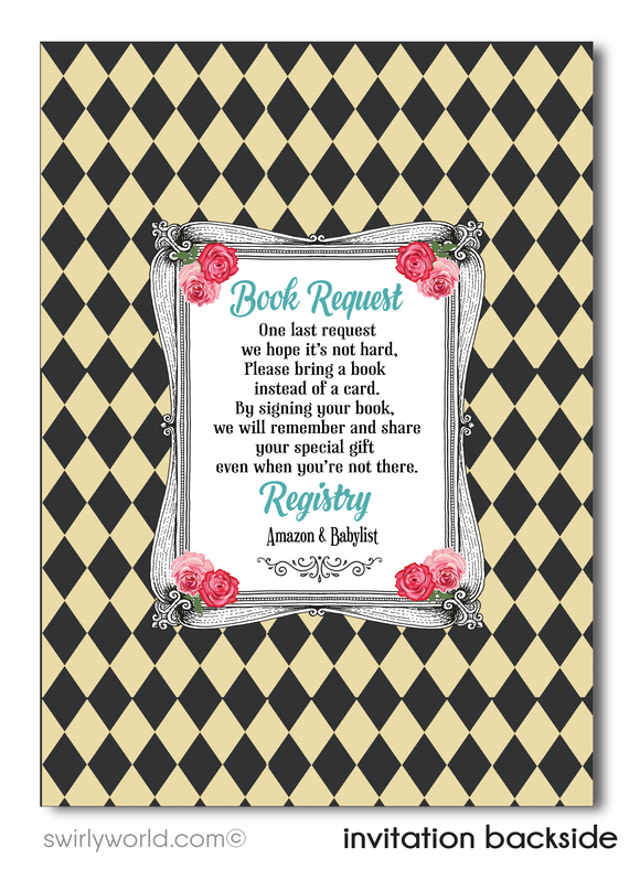 Gender Neutral Alice in Wonderland Mad Hatter's Tea Party Baby Shower Invitation and Thank You Card Digital Download Bundle