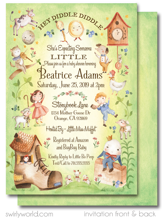 Digital Mother Goose Nursery Rhymes Baby Shower Invitations and Thank You Cards. Vintage Nursery Rhyme, Little Bo Peep, Hey Diddle Diddle Cat in the Fiddle and the Cow jumped over the Moon. Humpty Dumpty.