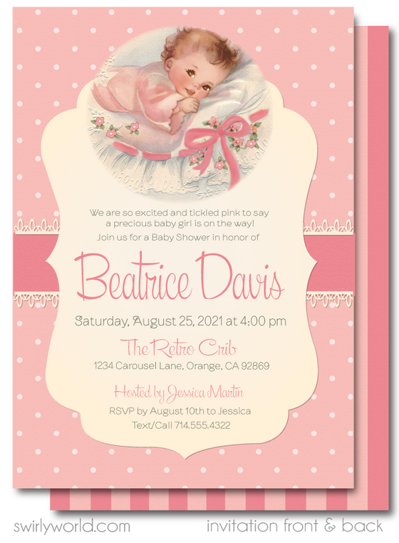 1950's Vintage Tickled Pink Retro Girl Baby Shower Invitation and Thank You Card Digital Download Bundle