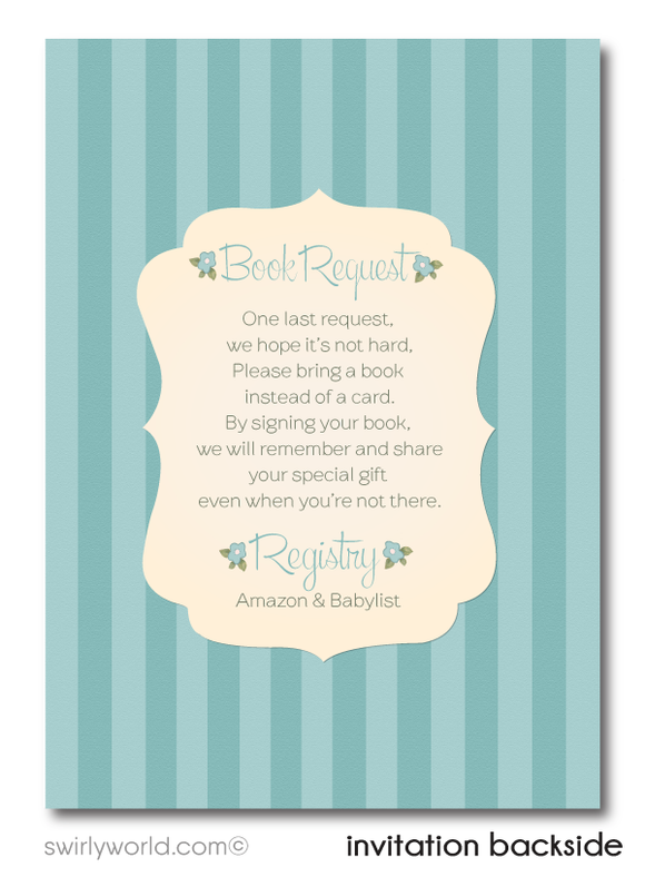1950's Vintage Blue Retro Boy Baby Shower Invitation and Thank You Card Digital Download Bundle