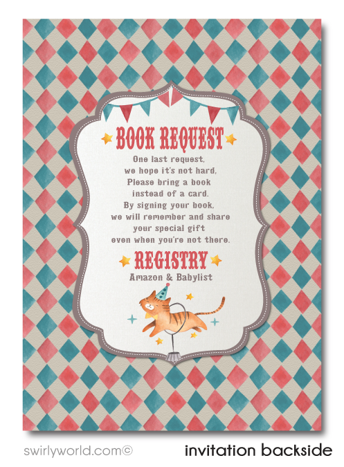 Gender Neutral Vintage French Cirque Carnival Circus Big Top Baby Shower Invitation and Thank You Card Digital Download Bundle