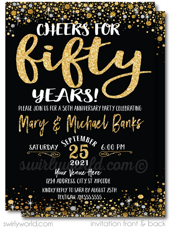 Cheers to 50 Years Black and Gold 50th Wedding Anniversary Party Printed Invitations