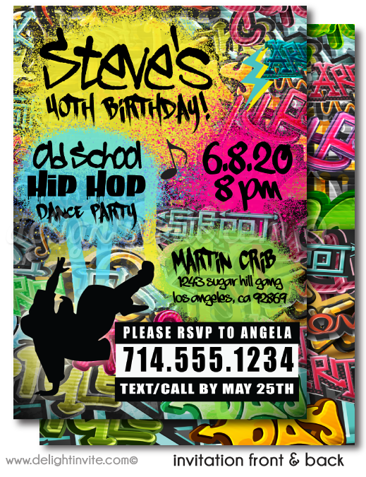 Old School 80's 90's Hip Hop Rap Graffiti Birthday Party Invitation Digital Design
