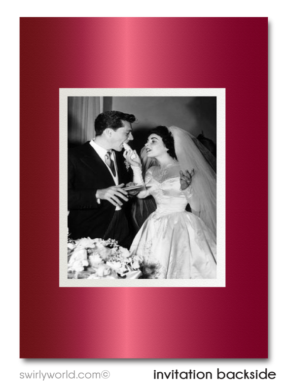 Vintage Ruby Red 40th Wedding Anniversary Party Invitation Digital Download