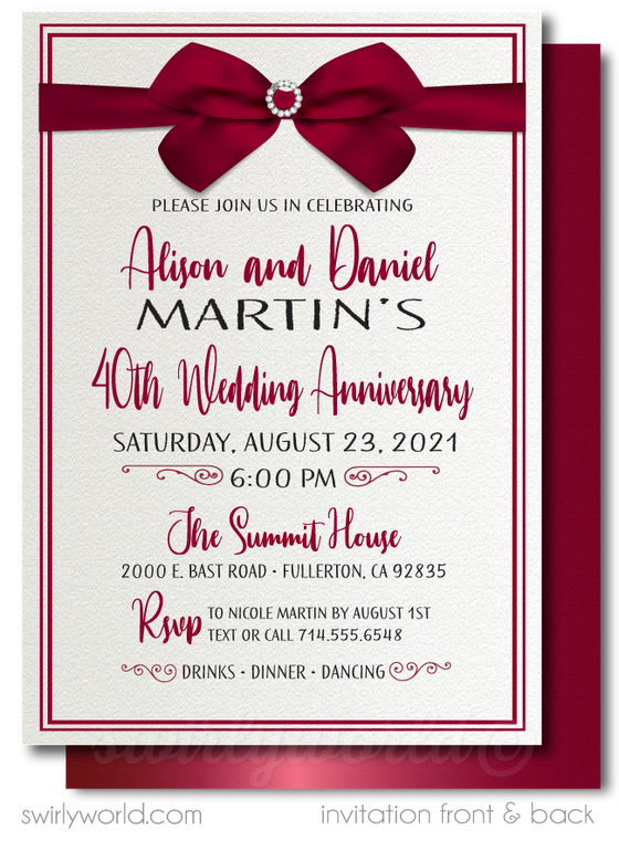 Vintage Ruby Red 40th Printed Wedding Anniversary Party Invitations
