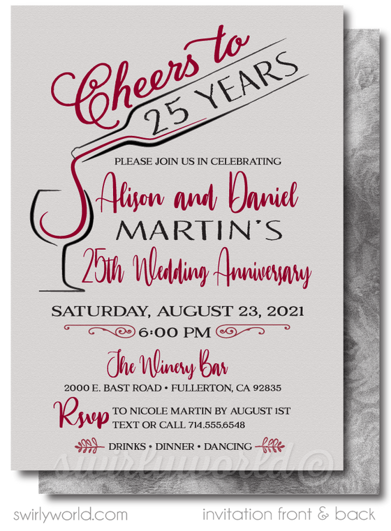 Wine Champagne Cheers to 25 Years Silver Printed Wedding Anniversary Party Invitations