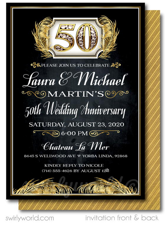 Cheers to 50 Years Black and Gold Printed 50th Wedding Anniversary Party Invitations