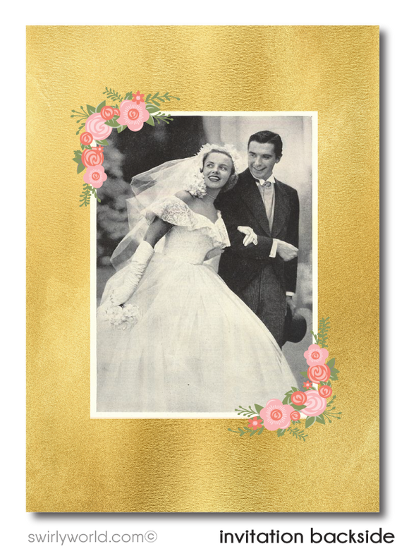 Shabby Chic Vintage Gold 50th Printed Wedding Anniversary Party Invitations
