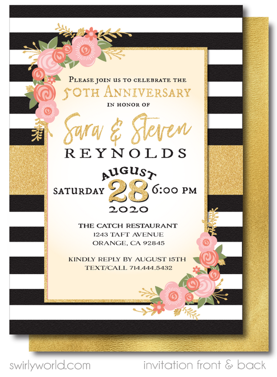 Shabby Chic Vintage Gold 50th Wedding Anniversary Party Invitation Digital Download
