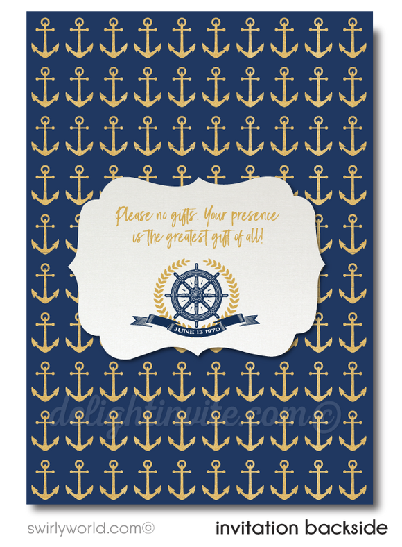 Nautical Rustic Anchor Sailboat Navy and Gold 50th Wedding Anniversary Party Invitation Digital Download