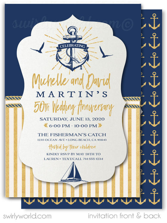Nautical Rustic Anchor Sailboat Navy and Gold 50th Printed Wedding Anniversary Party Invitations