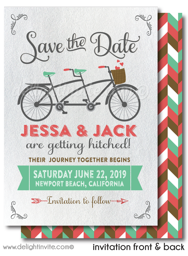 Vintage Retro Bicycle Boho Shabby Chic Save the Date Card Digital Download
