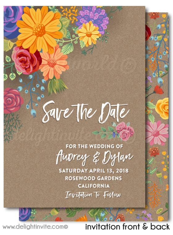 Boho Gypsy Shabby Chic Vintage Floral Save the Date Wedding Invitation Digital Download