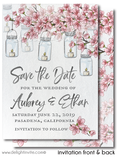Cherry Blossom Tree Romantic Candles Save the Date Invitation Digital Download