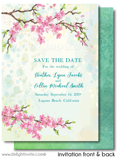 Whimsical Vintage Cherry Blossom Tree Save the Date Card Digital Download