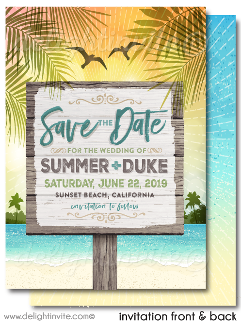 Vintage Beach Tropical Destination Theme Save the Date Card Digital Download
