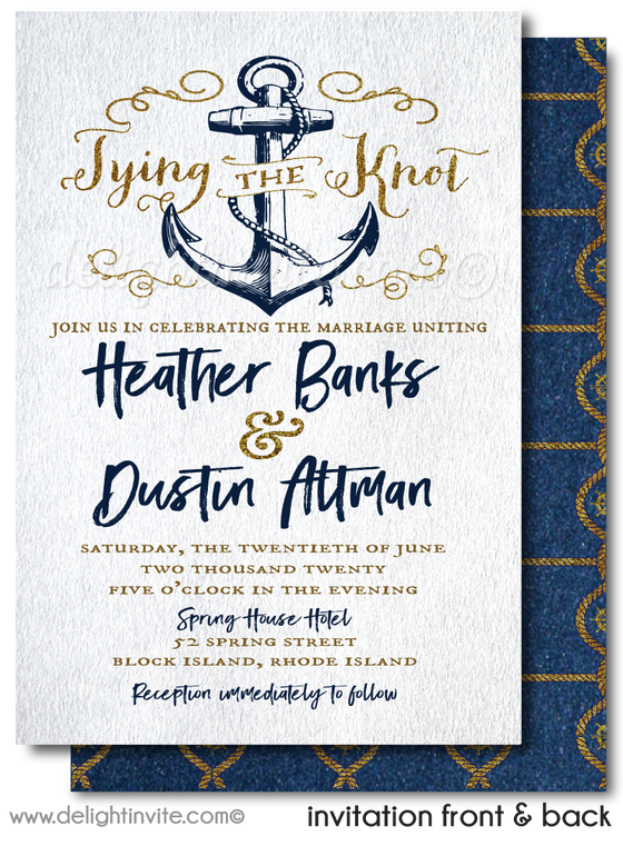 "Nautical Wedding Rustic ""Tie the Knot"" Anchor Wedding Invitations"