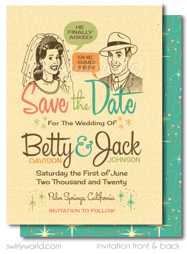 Retro Atomic Mod 1950's Save the Date Engagement Invitation Digital Download