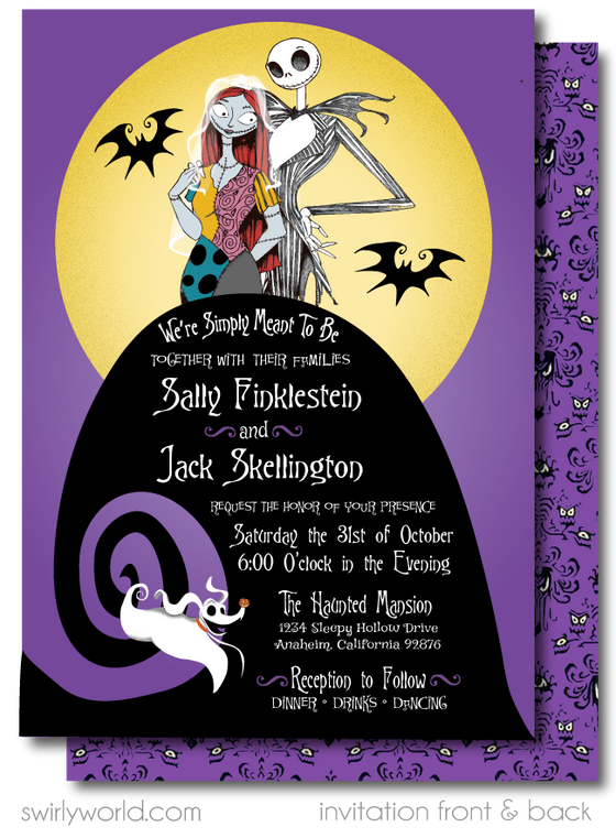 Jack and Sally Skellington Nightmare Before Christmas Wedding Invitations and RSVP cards