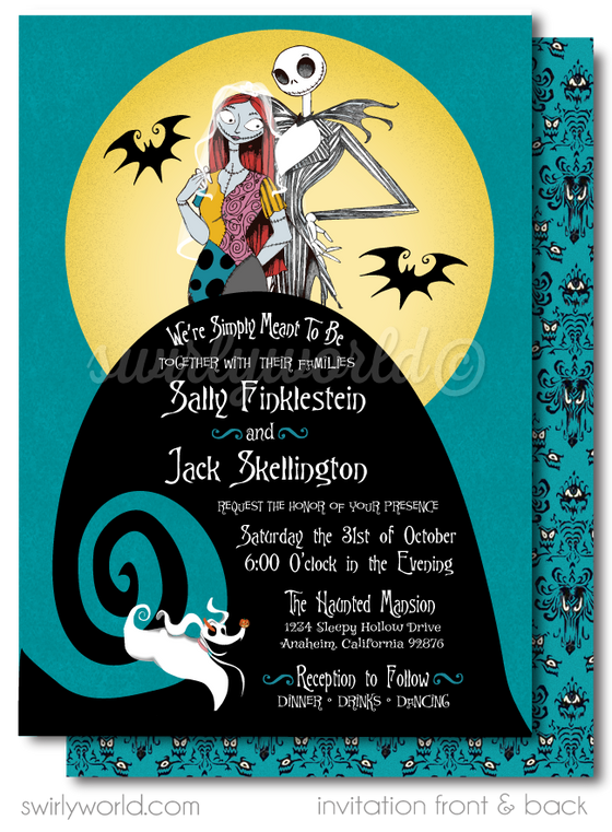 Aqua Blue Jack and Sally Skellington Nightmare Before Christmas Wedding Invitations and RSVP cards