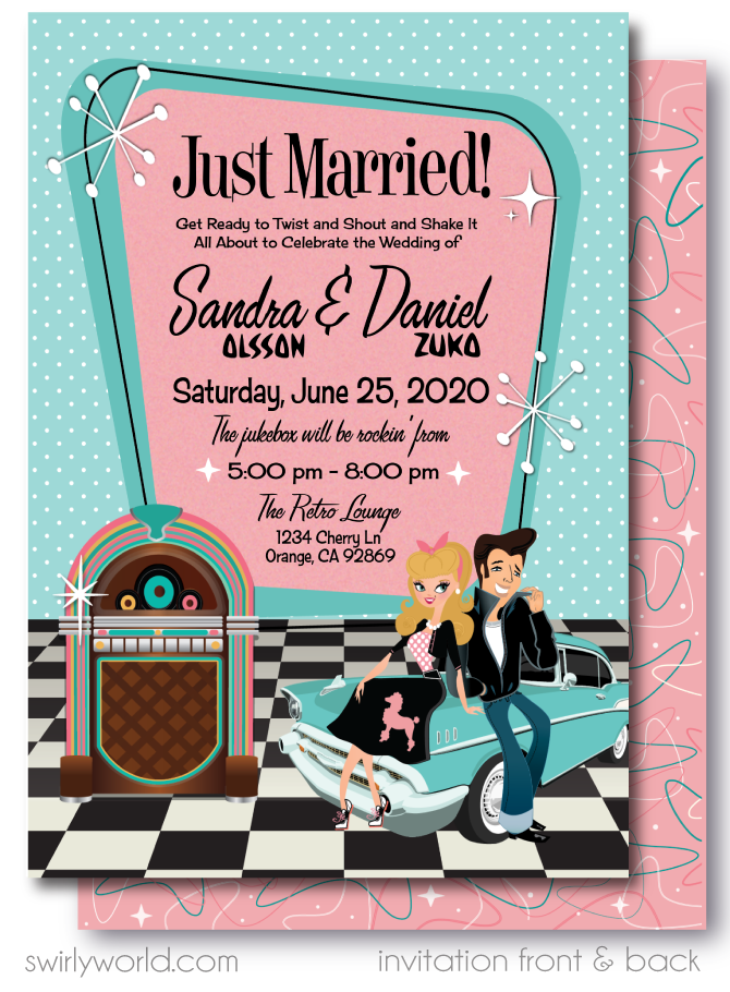 1950s Retro Rockabilly Grease Pink Ladies Wedding Invitations and RSVP card Digital Download Bundle