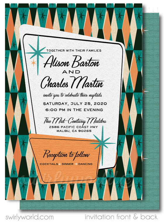 Retro Atomic Mid-Century Modern Wedding Invitation and RSVP Card Invitation Digital Download