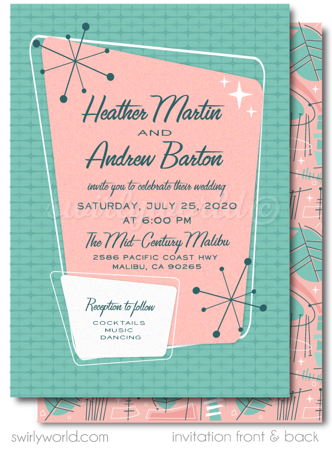 Pink Fifties Atomic Mod Mid-Century Modern Wedding Invitation and RSVP Card Digital Download Bundle