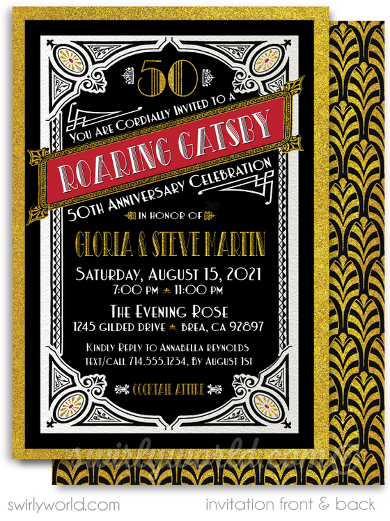 Great Gatsby Art Deco Roaring 20's Black and Gold 50th Printed Wedding Anniversary Party Invitations