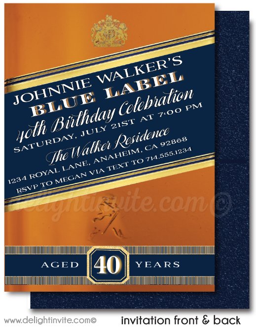 Johnnie Walker Blue Label Whiskey Alcohol 40th Birthday Party Invitation Digital Download