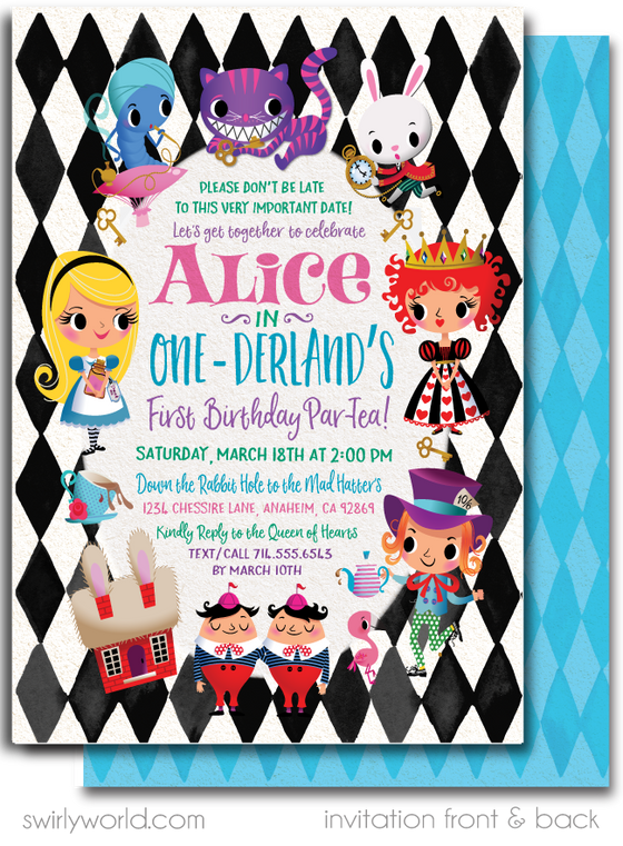 Digital Alice in ONEderland 1st Birthday Invitations and Thank You Cards. Wonderland Birthday Digital Download.