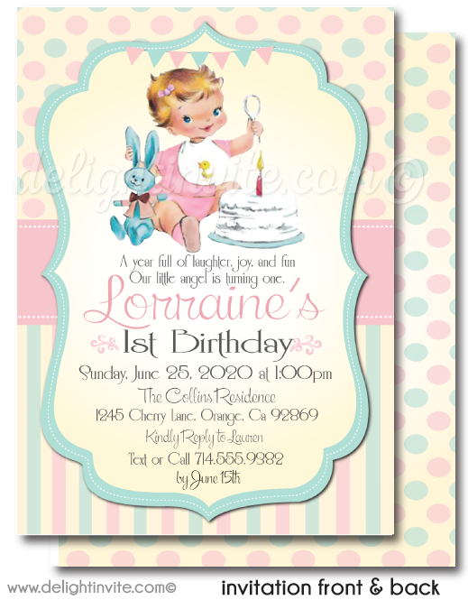 Vintage 1950's Retro Baby Girl First Birthday Invitations Digital Download