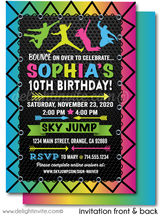 neon glow jump trampoline bounce house party invite