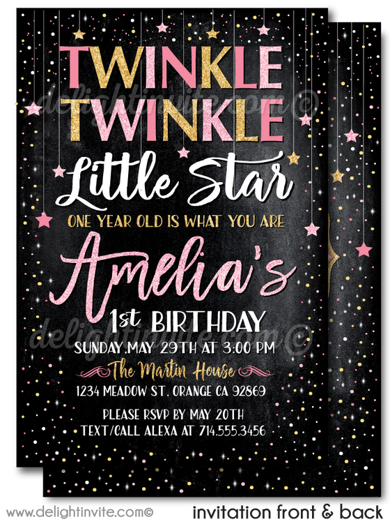 Pink and Gold Twinkle Twinkle Little Star 1st Birthday Party Invitation Digital Download