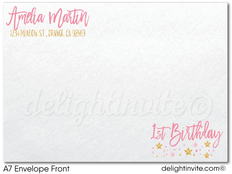 Pink and Gold Glitter Twinkle Twinkle Little Star 1st Birthday Party Printed Invitations