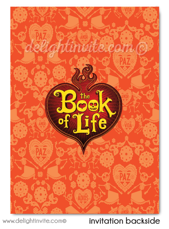 Book of Life movie birthday invitations for kids. Day of the dead theme halloween birthday invites for children.