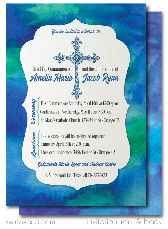 Blue Green Watercolor First 1st Holy Communion and Baptism Double Party Invitations