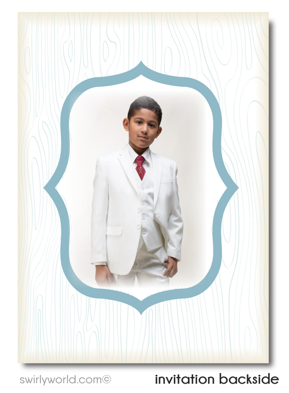 Boys' First 1st Holy Communion Invitation with Photo Digital Download