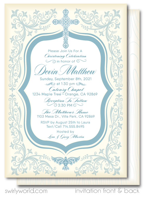 Vintage Blue First Holy Communion Invitations for Boys